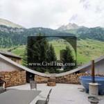 نمای ویلای سوئیسی جاسازی شده در تپه