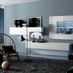 دکوراسیون داخلی اتاق نشیمن آبی - خاکستری
