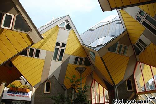 خانه های مکعبی شکل رتردام
