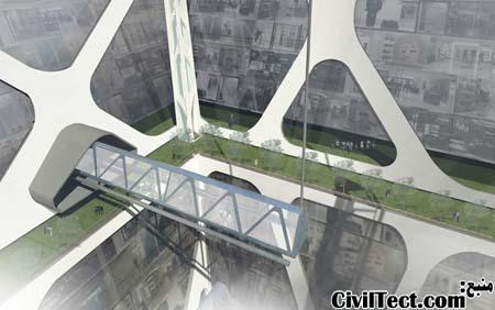 نمای داخلی بزرگترین برج معکوس جهان