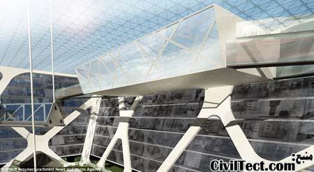 سقف شیشه ای برج زیرزمینی که باعث نور رسانی کافی به طبقات میشود