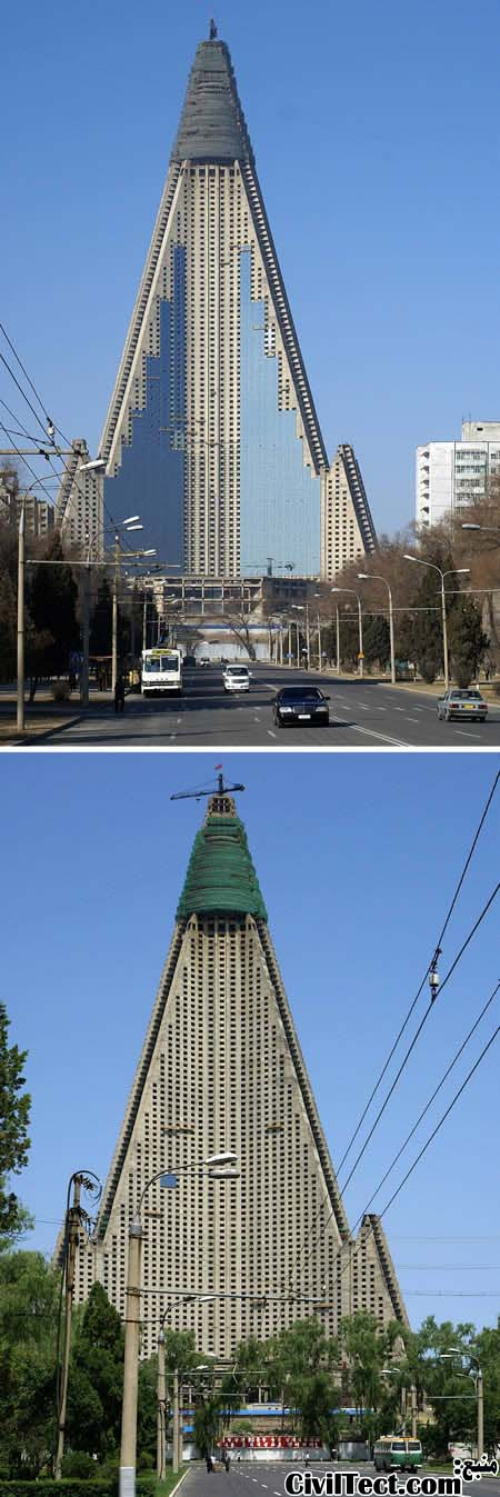 زشت ترین ساختمانهای جهان: هتل Ryugyong کره شمالی