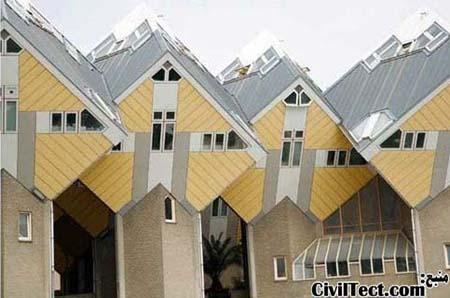 خانه های مکعبی و بسیار معروف رتردام - هلند