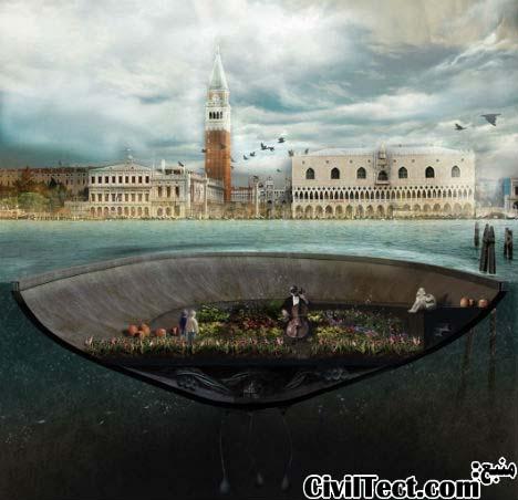 جزیره بتنی شناور در شهر ونیز