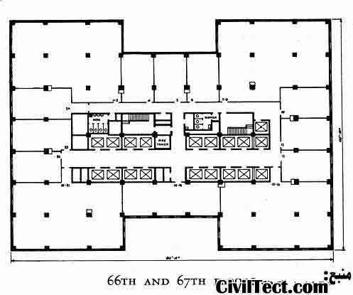 یک نمونه از پلانهای طبقات ساختمان امپایر استیت (طبقه 66 و 67)