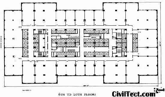 پلان طبقات 6 تا 20 ساختمان امپایر استیت