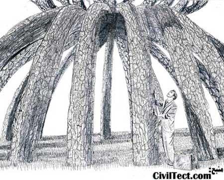 درختان گیلاس ژاپنی رشد کرده و سازه ما را تشکیل میدهند