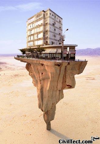 ساختمان بر روی تپه سنگی در حال تعادل