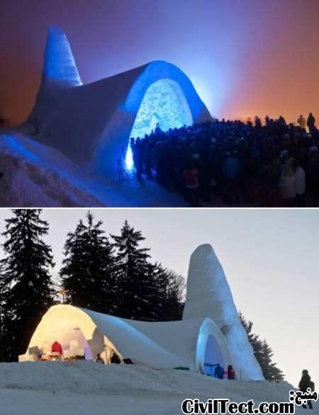 کلیسای برفی - ساخته شده تماما از برف