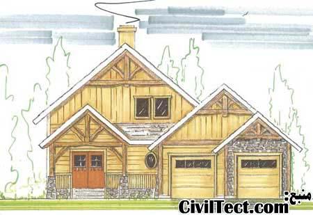 نقشه معماری خانه چوبی  - نمای ساختمان چوبی
