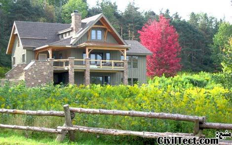 عکس خانه چوبی - عکس ویلای چوبی - عکس ساختمان چوبی