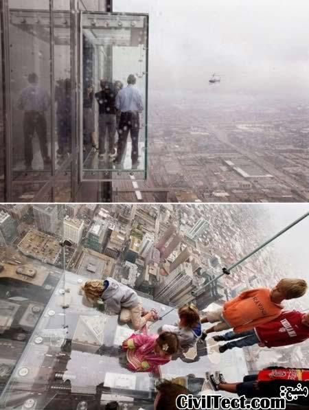 بالکن برج ویلیس (برج سیرز) - بالکن شیشه ای در ارتفاع