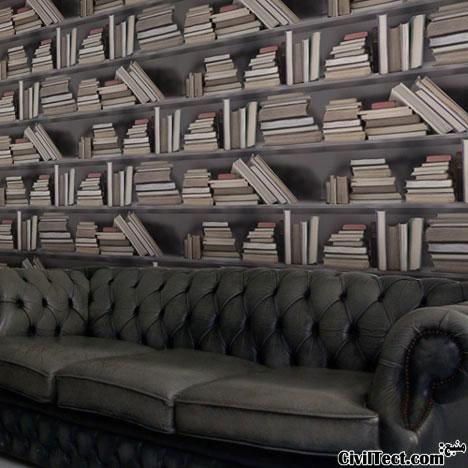 کاغذ دیواری با طرح کتابخانه - کاغذدیواری های چاپی سه بعدی