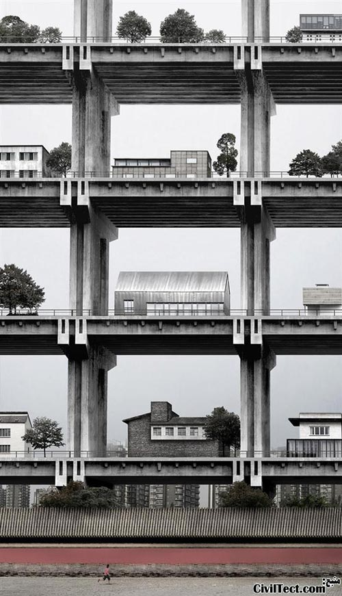 ایده جالب ساخت خانه های ویلایی بصورت طبقاتی روی هم