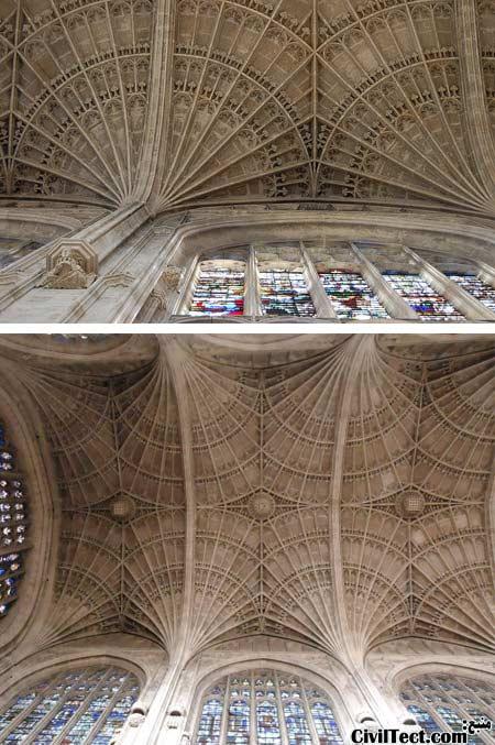 سقف قوسی کلیسای واقع در کینگز کالج (King's College) در کمبریدج انگلستان
