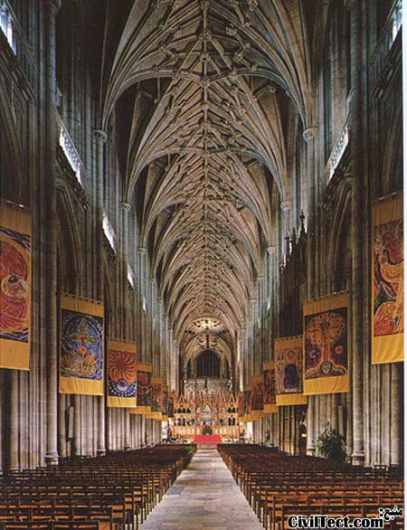 سقف طاقی شکل کلیسای جامع وینچستر