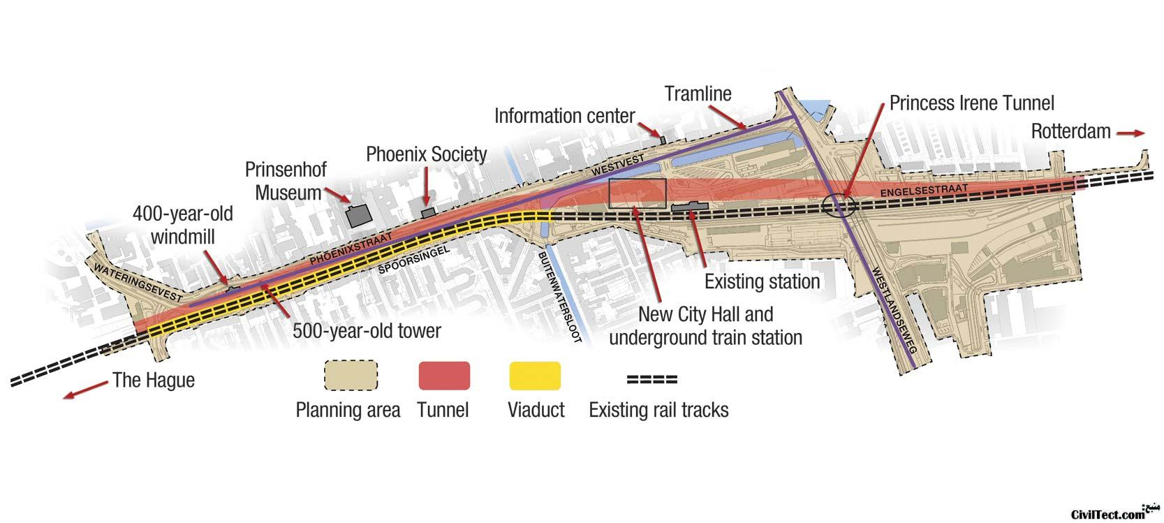 پروژه spoorzone شهر دلفت - نمونه ای از پروژه های ساماندهی خطوط راه آهن