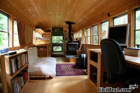 خانه اتوبوسی - تبدیل اتوبوس مدرسه به خانه