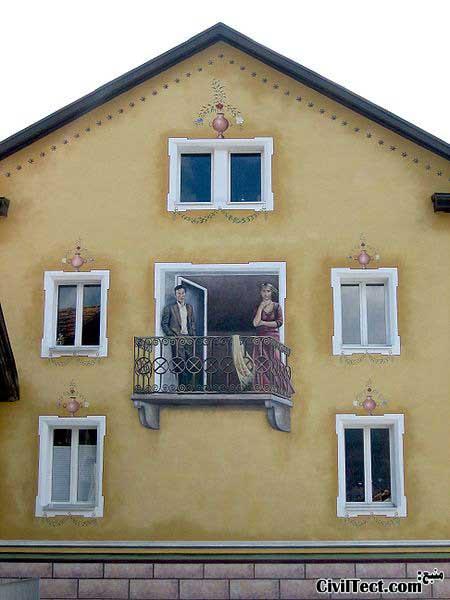نقاشی سه بعدی روی دیوار خانه
