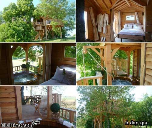 خانه ی چوبی بالای درخت برای آرامش