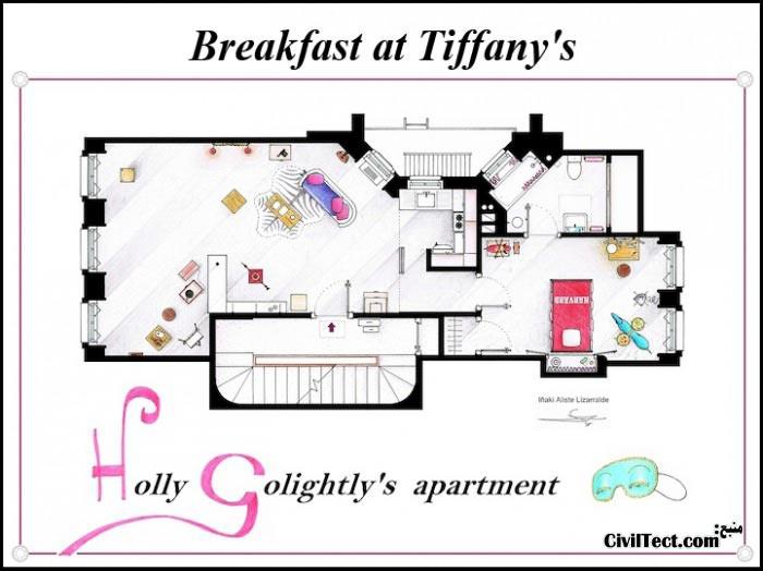 پلان معماری خانه سریال Breakfast at Tiffany's