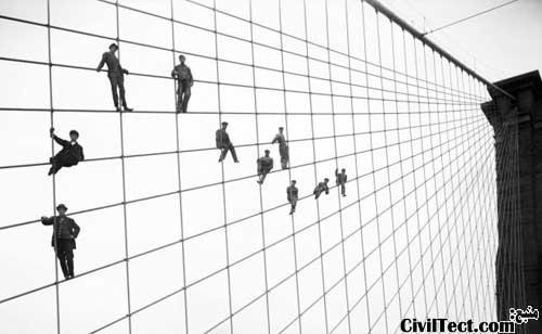تصویری از زمان ساخت پل بروکلین نیویورک