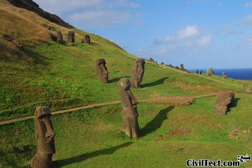 The-Giant-Stone-Heads-of-Easter-Island - مجسمه سرهای سنگی جزیره ایستر