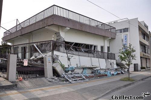 تخریب ساختمان به دلیل وقوع طبقه نرم در زلزله Sendai
