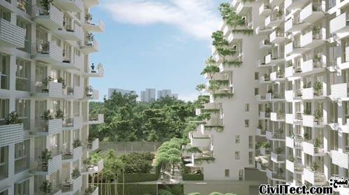 معماری جالب برجهای دوقلو سنگاپور