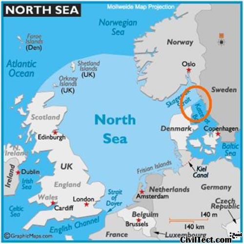 نقشه دانمارک و محل اسکاگن
