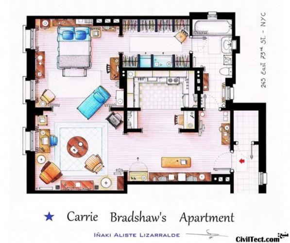 پلان خانه Carrie Bradshaw