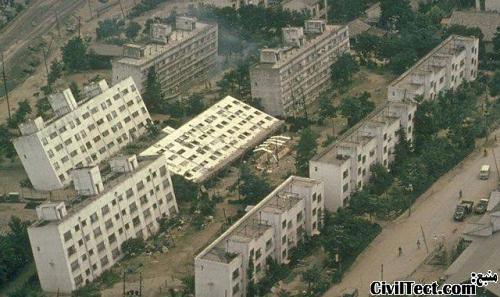Liquefaction_at_Niigata - روانگرایی در شهر نیگاتا ژاپن پس از زلزله