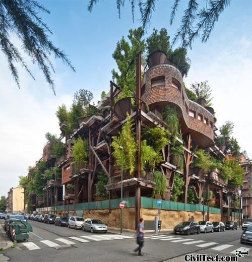 جنگل شهری: آپارتمانی با ۱۵۰ درخت!