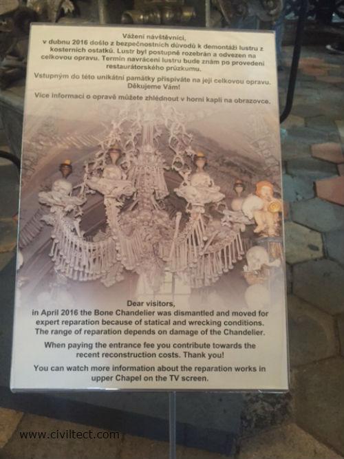 چلچراغ اسکلتی معروف کلیسا - در زمان بازدید در دست تعمیر بود